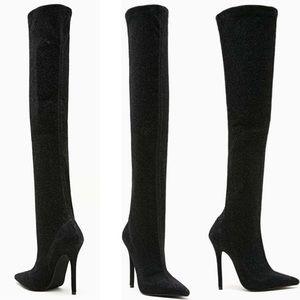 Jeffrey Campbell black glitter kinki thigh boots 6